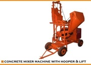 concrete mixer with lift and hooper