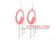 Fashion Style Pink Coral Long Dangle Tassel Earrings
