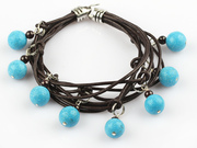 Lovely Style Multi Strands Turquoise and Garnet Leather Bracelet