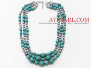 Multi Strands Gray Freshwater Pearl and Turquoise Necklace with Extend