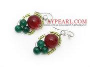 2013 Christmas Design Green Agate and Carnelian Earrings