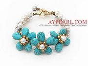 Elegant Style Pearl and Turquoise Flower Bracelet