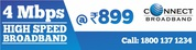 Unlimited 4MBPS Broadband Plans at Rs 899 Only