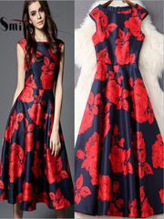 Navy Rose Printed Dress by Trolley Kart