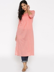 Desi Weavess Plain Peach Pleated Kurta at ShoppyZip