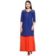 Dailywear Royal Blue Cotton Kurta For Women